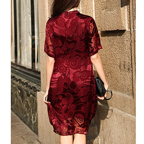 Plus Long Cocktail Summer Knee Red Size S9969 Vintage DISSA Silk Women Sleeveless Dress 0ABWCq