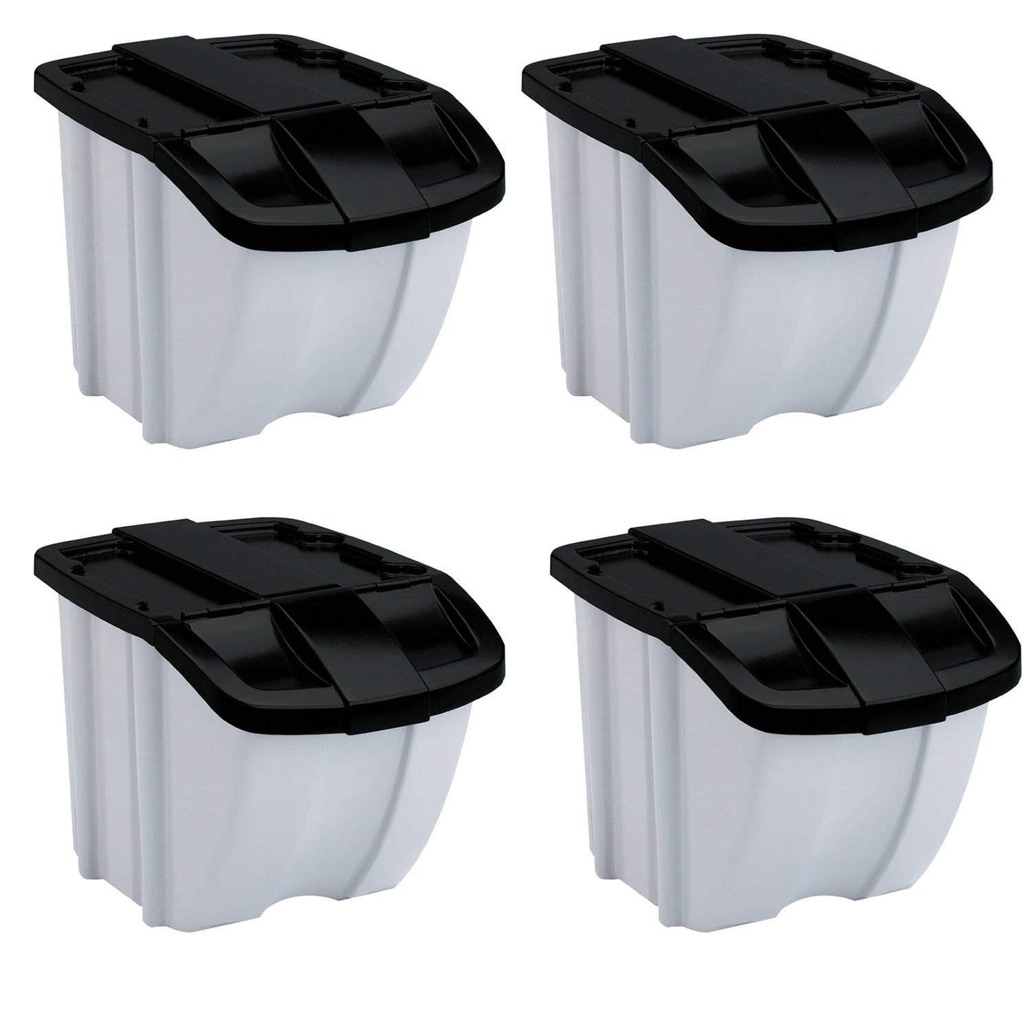 Suncast 18 Gallon Indoor or Outdoor Stacking Recycle Storage Bin, Gray (4 Pack)