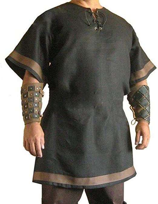 Huateng Disfraz de Traje Medieval de Vikingo para Hombre T/única vikinga Renacimiento Pirata Chaqueta de Traje