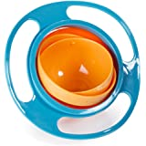 Aomeiter Gyro Bowl- Spill Resistant Kids Gyroscopic Bowl with Lid Non Spill Bowl Blue