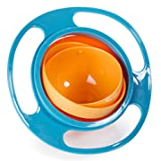 Aomeiter Gyro Bowl- Spill Resistant Kids Gyroscopic Bowl with Lid Non Spill Bowl (Light Blue)