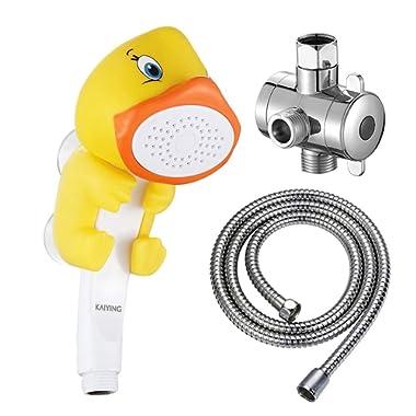 KAIYING Children's Handheld Shower Head,Cartoon Water Flow Spray Shower Head Baby Kids Toddler Bath Play Bathing Toys (I:Showerhead(Duckie)+Hose+Diverter)