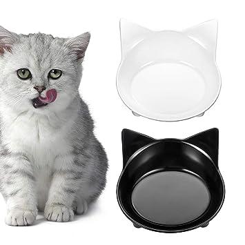 2 cuencos antideslizantes para gato, comida para mascotas y cuencos de agua para gatos de