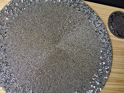 Holiday christmas gift Handmade Beaded Black Decorative Table Mat, Center piece, Gift for her, Housewarming gift Round BRUSHED GOLD Plate Chargers, Weddings, Table Setting, Events, Decoration