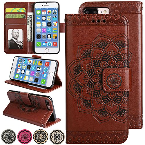 iPhone 8 Plus (2017) Flip Cell Phone Case [Kickstand Cover][3D Relief Flower] 5.5inch Apple iPhone8 Plus Folio Magnetic Fold Wallet Leather Cover with Card Holder Slot for iPhone 7 Plus Case - Brown