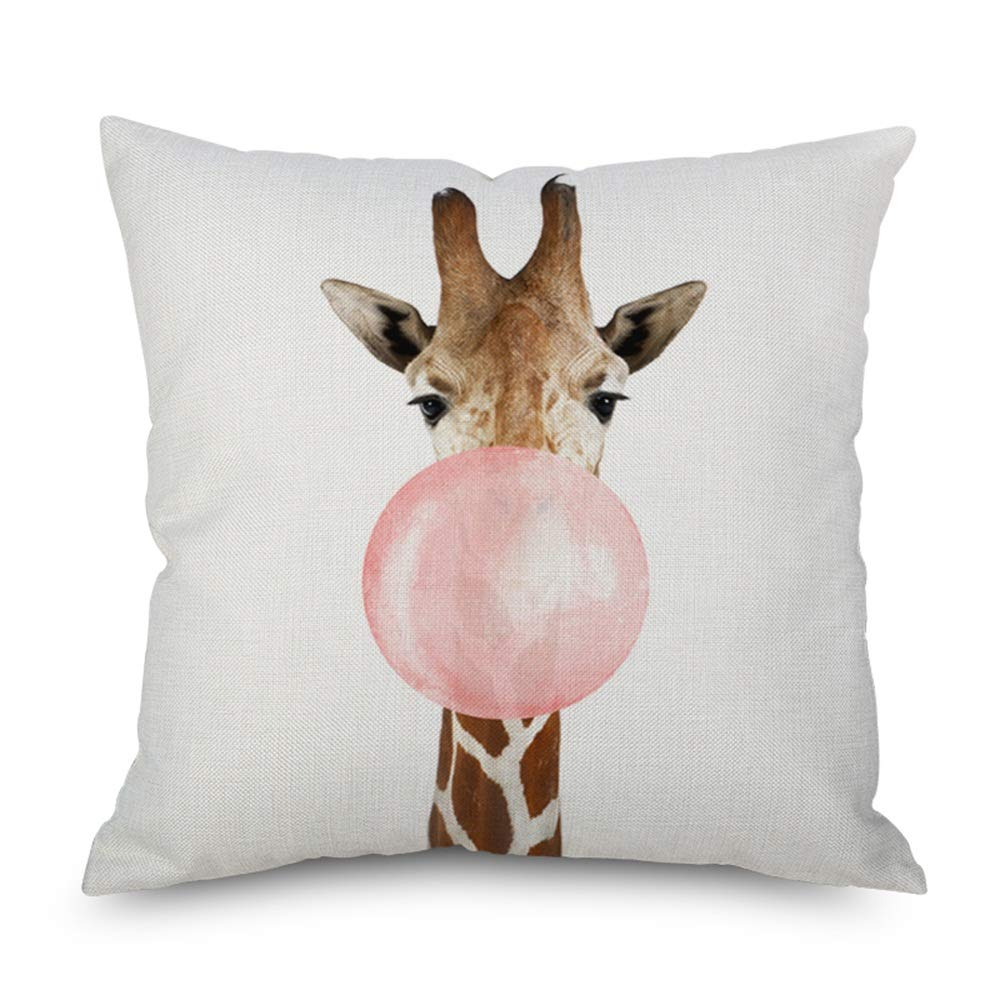 Throw Pillow Cover 18 x 18 Cute Giraffe Blowing Bubble Lovely Giraffe Home Decor Invisible Zipper Durable Decorative Cushion Cover Pillow Case Sofa Couch Bedroom Living Room