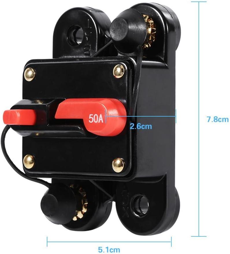 Circuit Breaker Reset Fuse Holder 100Amp Reset Fuse Holder Circuit Breaker Waterproof 12-24V New 50Amp