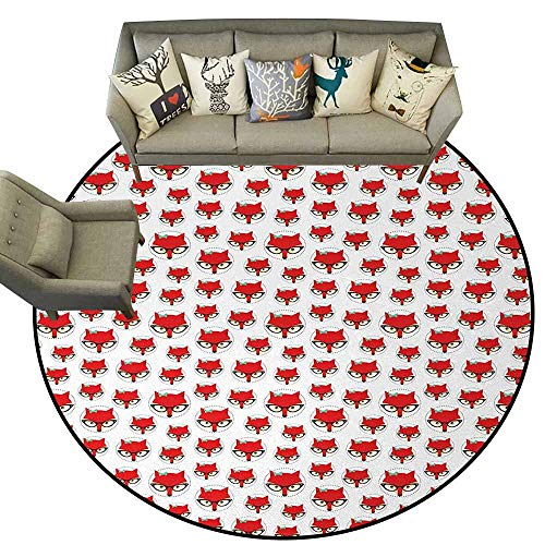 (Fox,Round Mats for Living Room Bedroom Study D66 Cartoon Hipster Red Lady Fox with Glasses and Buckle Inside a Circle of Dots Area Rugs Mint Green Beige Red)