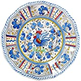 "Le Cadeaux Rooster Dinner Plate, 11"", Blue"