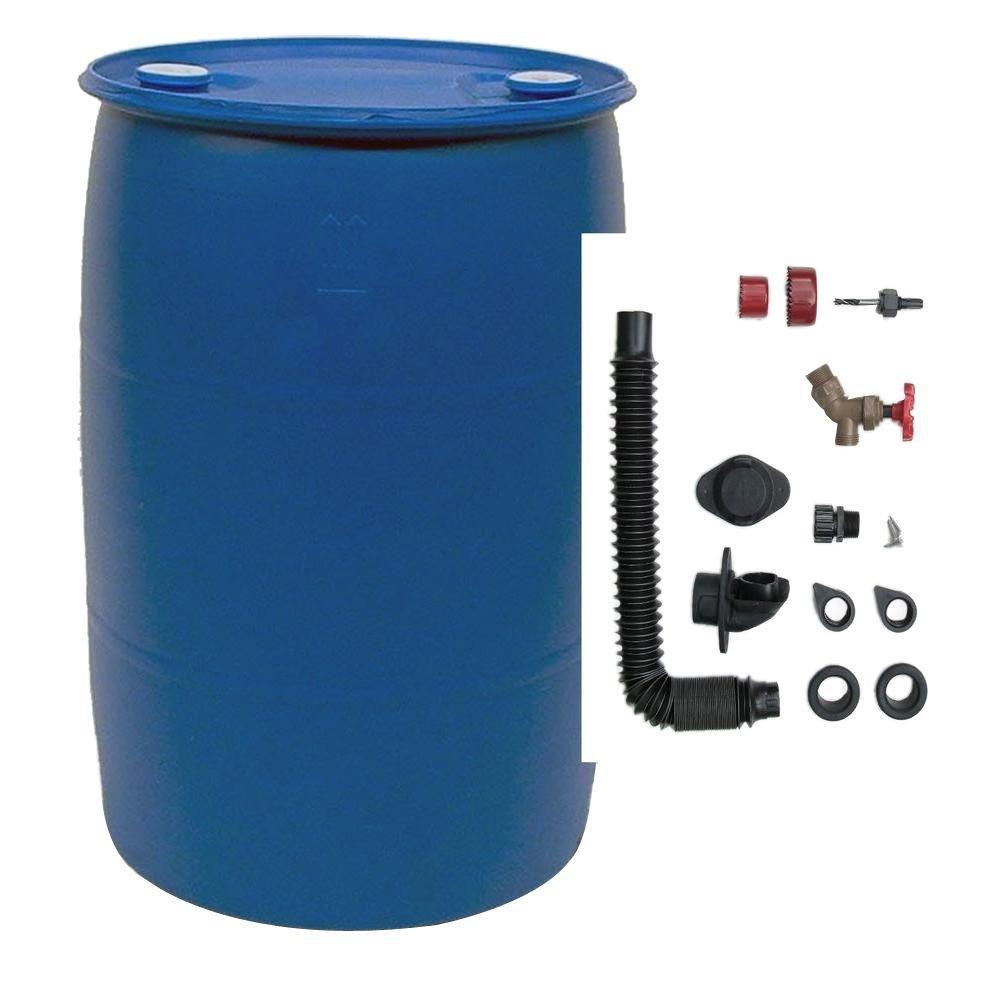 EarthMinded 55 Gal. Blue Plastic Drum DIY Rain Barrel Bundle with Diverter System