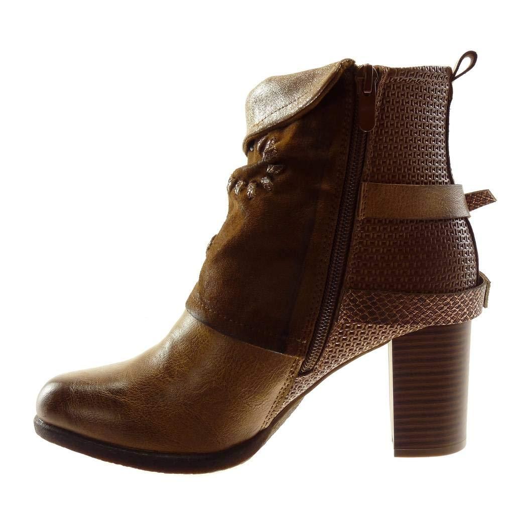 Angkorly Angkorly Angkorly - Damen Schuhe Stiefeletten - Biker - bi-Material - Classic - String Tanga - Schlangenhaut - Nieten - Besetzt Blockabsatz high Heel 7.5 cm 0e2cfa