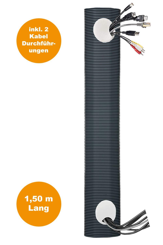 tubo de instalaci/ón el/éctrica pasacables invisible canal de cable empotrado tubo multimedia Juego de conductos para cables 150 cm de longitud canal multimedia TV sin cable