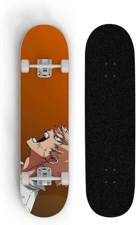 My Hero Academia: Bakugou Katsuki Skateboard Maple Board Transporte Doble inclinación Scooter Cuatro Ruedas Road Brushing Street SkateboardAdultoAdolescente 80 * 20 * 10cm