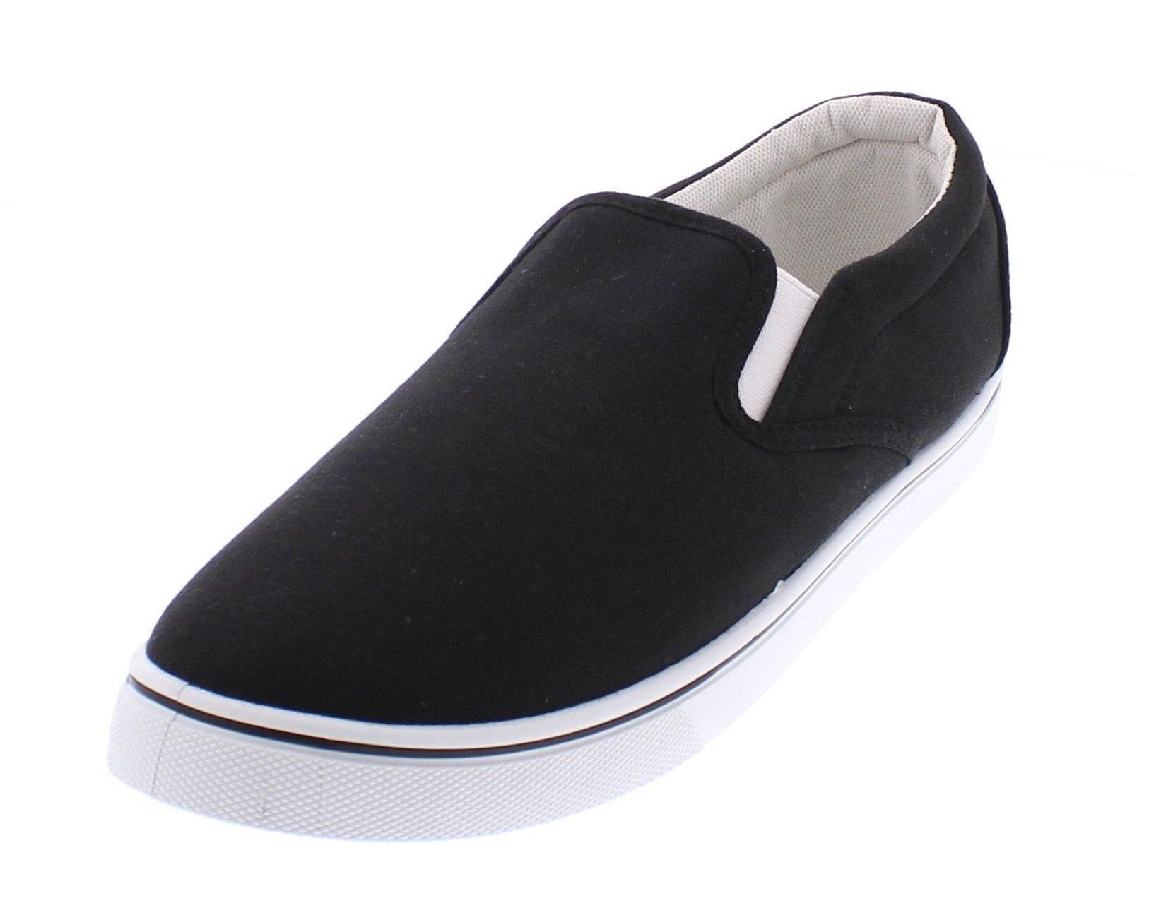 Gold Toe Doug Mens Slip On Shoes Casual,Memory Foam Sneakers Men,Canvas Shoe,Men's Deck Shoes,Skate Shoes Black 11D US