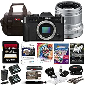 Fujifilm X-T20 Mirrorless Camera Body + 50mm Lens 64GB Body Bundle (Silver)