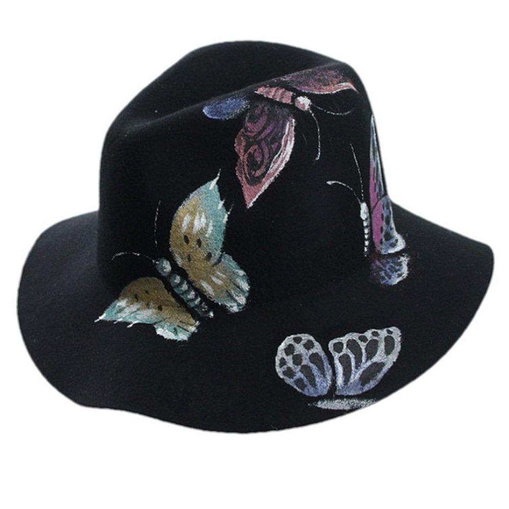 Shuo lan hu wai Frühling und Winter Festival Doodle Schmetterlingshut Lady Pure Wool Hat