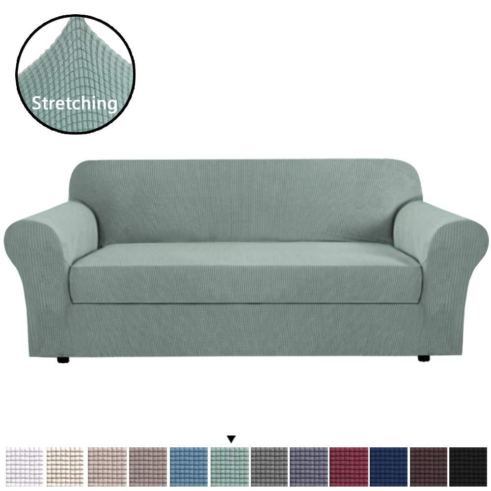H.VERSAILTEX Elegant Luxury High Spandex Sofa Cover Stretch Jacquard Furniture Protector, 2 Separate Pieces for Sofa, Super Soft Machine Washable, ...