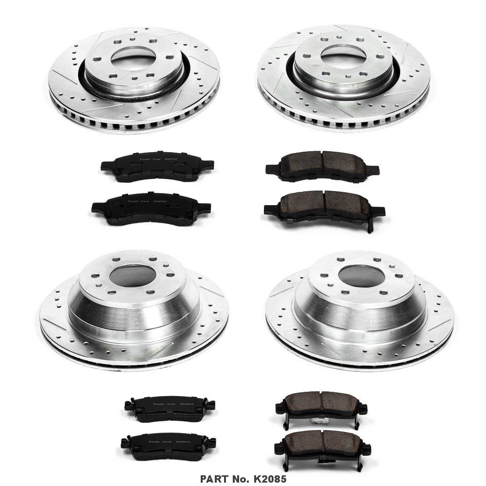 Power Stop K2085 Front /& Rear Brake Kit with Drilled//Slotted Brake Rotors and Z23 Evolution Ceramic Brake Pads