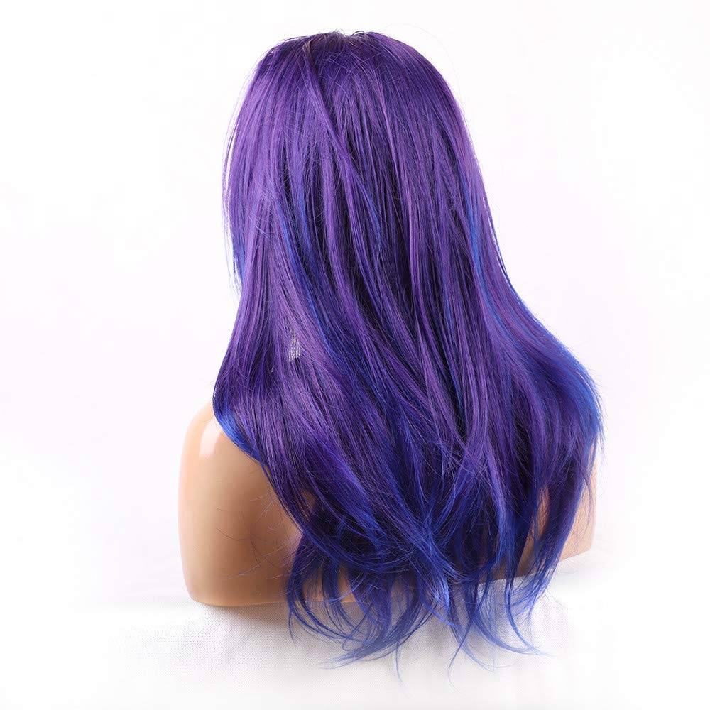 Cyswi Gradient Wigs Women Purple Blue Synthetic Curly Long Cosplay Wig Elegant Natural Wave Hair Extension Heat Resistant Brazilian Hairpieces Fashion Front Hair Haircut for On Sale 24 inch by Cyswi (Image #5)