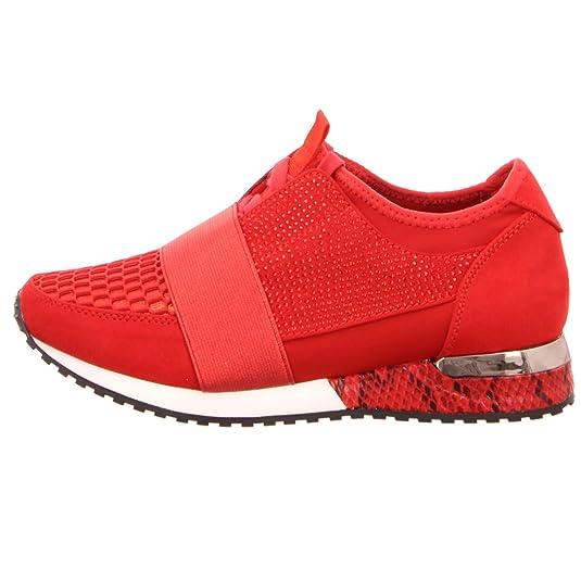 La Strada 1705464 Sneaker Red Knitted Schuhe Sneaker Rot Weiß
