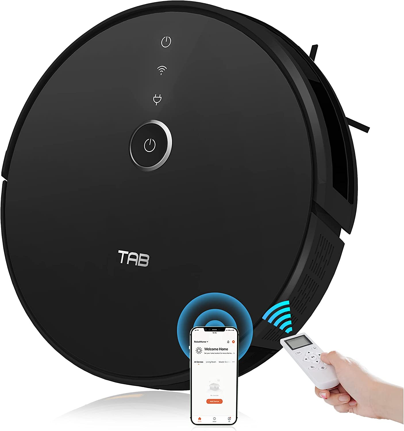 TAB Robot Vacuum Cleaner, Quiet&Slim Robotic Vacuums with 2200Pa Suction, Infrared Sensor, Self-Charging, Works with WiFi/App/Alexa/Google Home, Ideal for Pet Hair, Carpet, Hard Floors