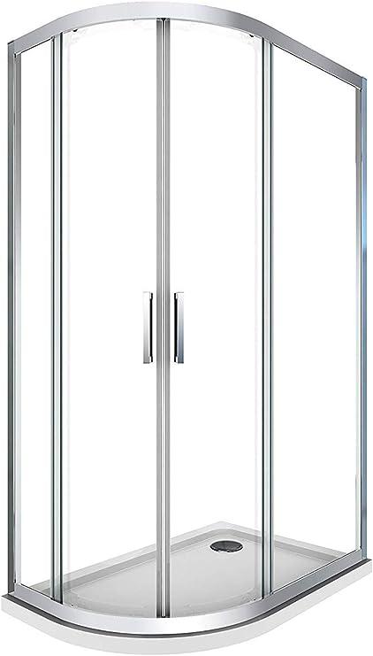 Laneri - Cabina de ducha y plato de ducha de ABS, curva semicircular asimétrica, antical, derecha, 77,5 x 79-117,5 x 119 cm: Amazon.es: Bricolaje y herramientas