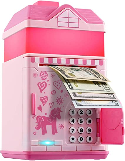 TACY Kids Money Bank Black Mini ATM Cash Coin Bank with Lights and Music Money Safe Coin Box for Children Fun Gifts Toy Electronic Piggy Bank Black Code Armored Car Password Piggy Banks
