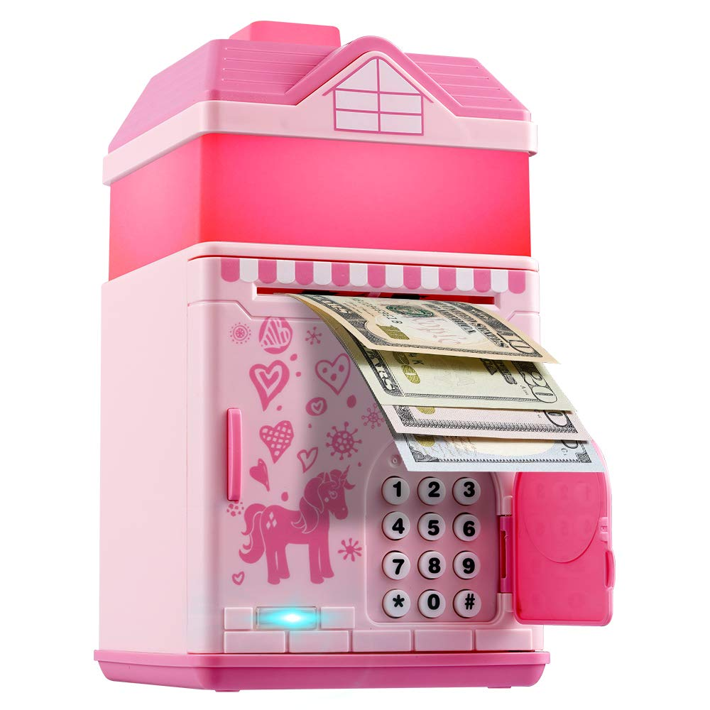 Piggy Bank for Girls, Electronic Money Coin Code Bank with LED Night Light and 10 Music, Pink Safe Box with Personal Password Setting, Auto Money Scroll,  For Kids` Birthday by OYE HOYE