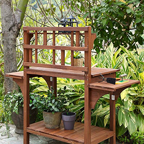 Garden Potting Bench with Storage Shelf Wood Outdoor Large Work Table plans Gardening Planting Station- Brown by Coral Coast (Image #5)