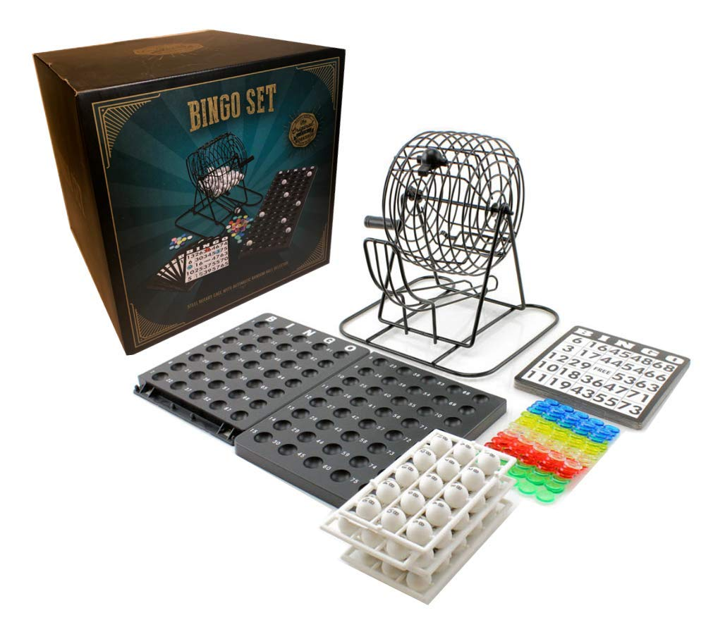18 Cards 75 Balls Metal Cage Chips Shopefied Classic Bingo Game Set