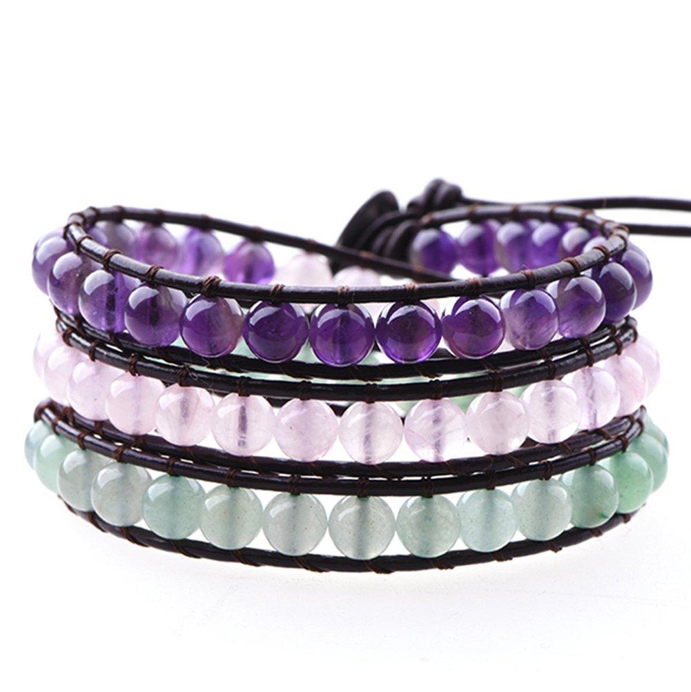 Mirilya Crystals and Healing Stones Bracelet Amethyst Rose-Quartz Aventurine for Anxiety Depression Stress