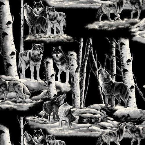 Grey Wolves Wolf Night Wildlife Nature Fleece Fabric Print by the yard (Wolf Fabric)