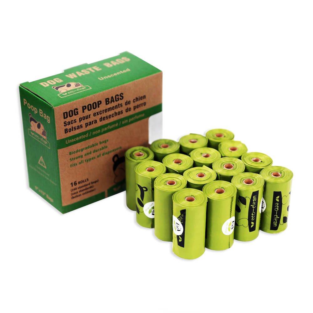 Poop Bags Biodegradable, 16 Rolls/240 Bags, Dog Waste Bags, Unscented, Leak-Proof, Easy Tear- Off