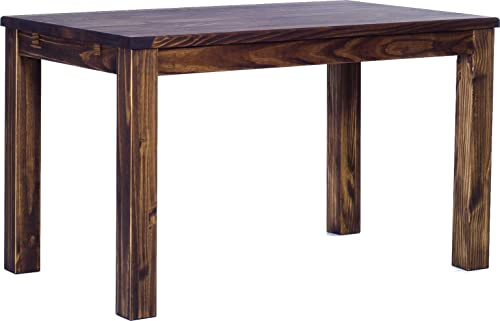 TableChamp Dining Table Rio 47.2 x 31.5 Inches Oak Antique Dark Brown Solid Pine Wood Oiled, Extensions Optional Extendable Expendable, Wooden Office Conference Desk Kitchen