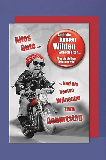 Manner Button Karte Geburtstag Die Jungen Wilden Motorrad 16x11cm