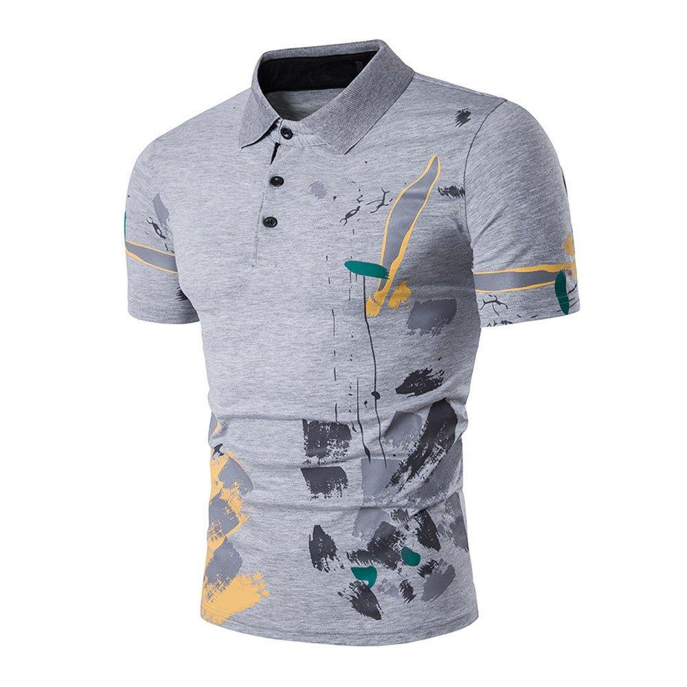 Fxbar Mens Print Golf Shirt Fashion Casual Graphic Button Up