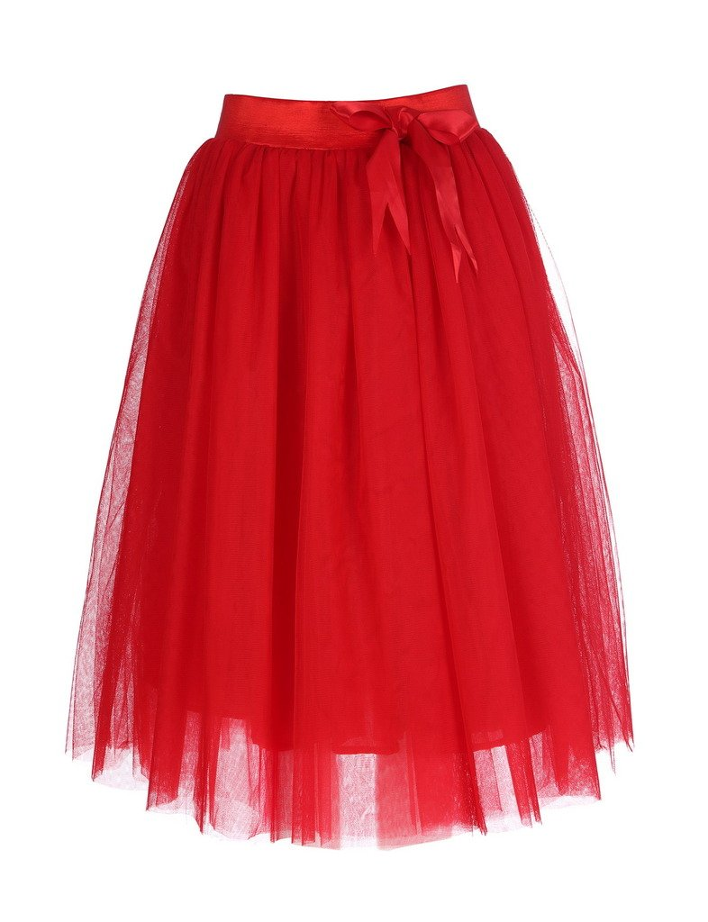AOMEI Wedding A Line Tulle Tutu Jupe Knee Length Prom Party Skirt Red Size L