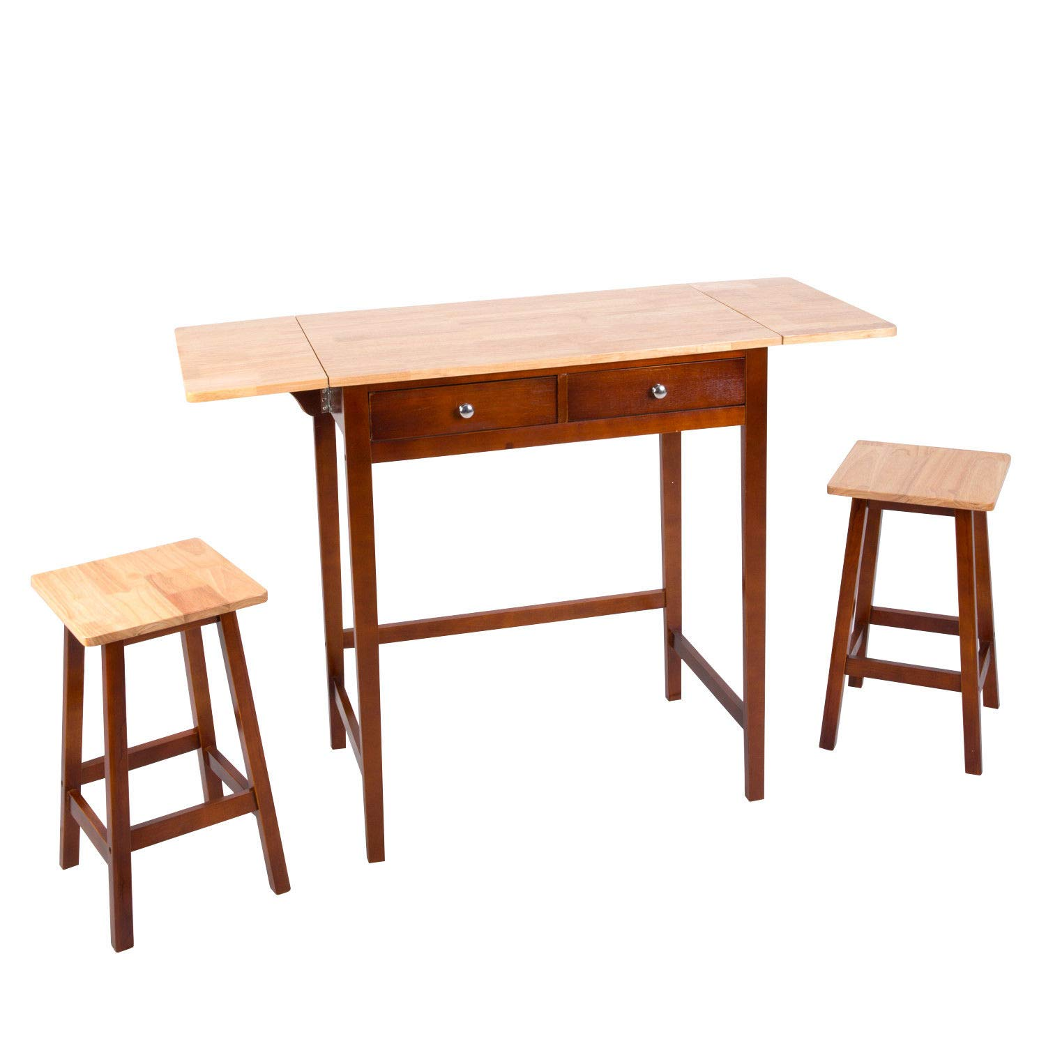 Amazon com anya nana simple dining set 3 pcs wood breakfast bistro double drop leaf table kitchen stool seating dinner guests table chair sets