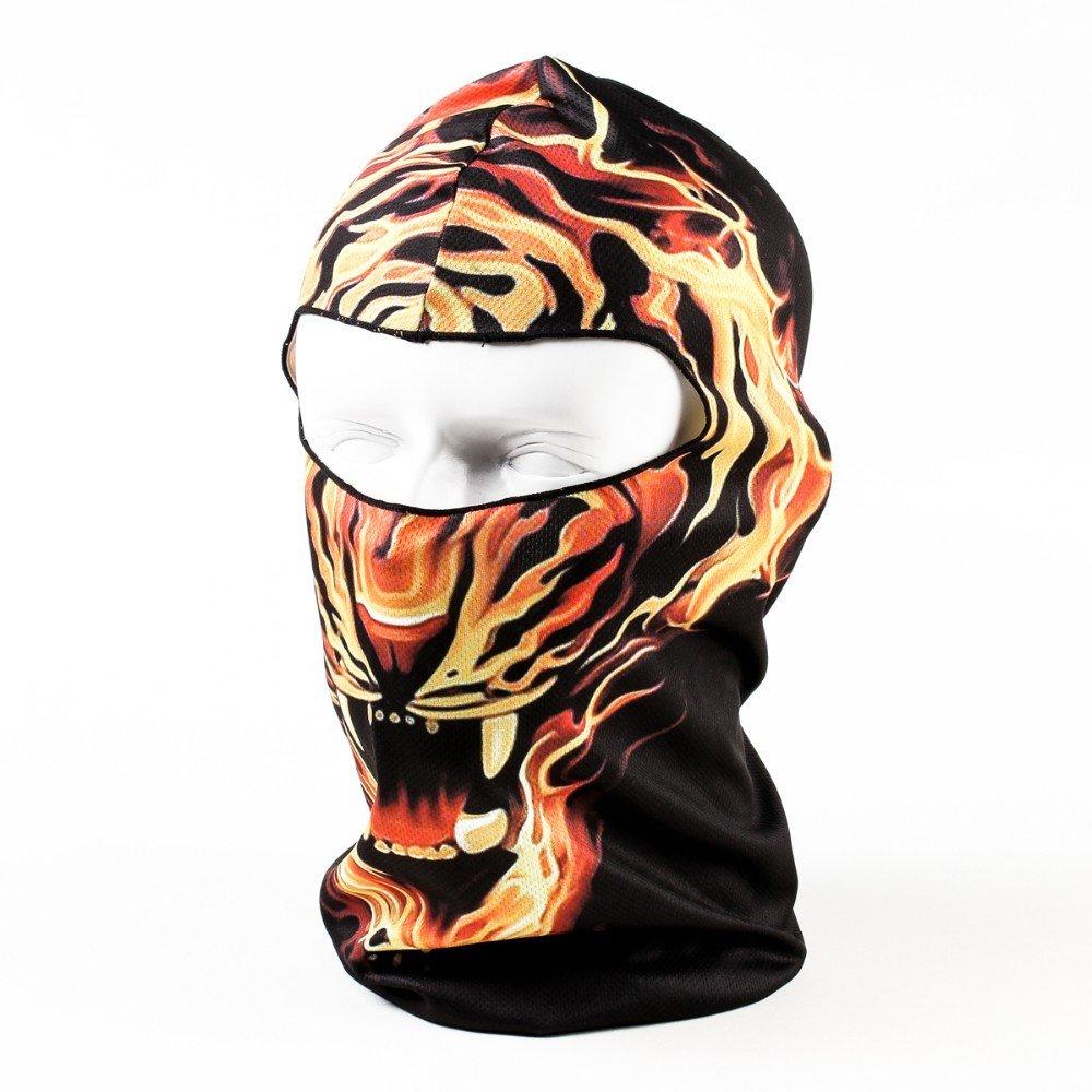 TOOGOO Patron de tigre de fondo negro Mascara de motocicleta ciclismo deportes al aire libre activo de animal 3D de capucha del esquiMascara facial completa ...