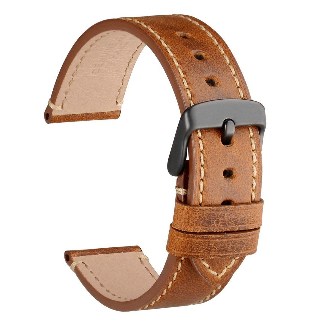 WOCCI 20mm Watch Bands - Saddle Style Vintage Leather Strap with Black Buckle - Belt Color (Gold Brown)