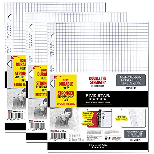 Five Star Loose Leaf Paper, 3 Hole Punched, Reinforced Filler Paper, Graph Ruled, 11'' x 8-1/2'', 100 Sheets/Pack, 3 Pack (38034) by Five Star