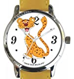 """Save Our Wildlife"" Large Polished Chrome Watch with Yellow Leather Strap has ""Cheetah"" image and Donation to the African Wildlife Foundation"