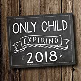 Only Child Expires 2018 Pregnancy Announcement Sign - Chalkboard Style Poster Print by Katie Doodle (8x10 inches)