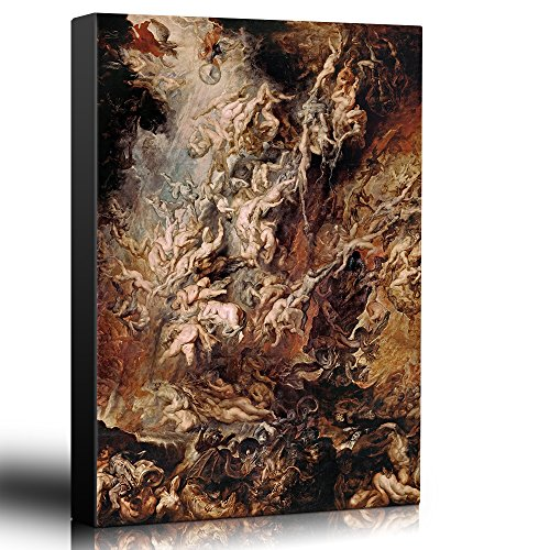 wall26 - Oil Painting of Fall of The Rebel Angels by Peter Paul Rubens - Baroque Style - Hell, Heaven, Catholic, Christianity - Canvas Art Home Decor - 16x24 inches
