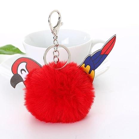 b1d3275bbeac Amazon.com  AutumnFall 1PC Faux Rabbit Fur Ball Cartoon Parrot Car Pendant Bag  Key Ring Keychain