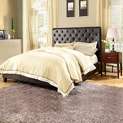 Creek Slat Bed - Home Creek Sascha Faux-Leather Tufted Slat Platform Bed