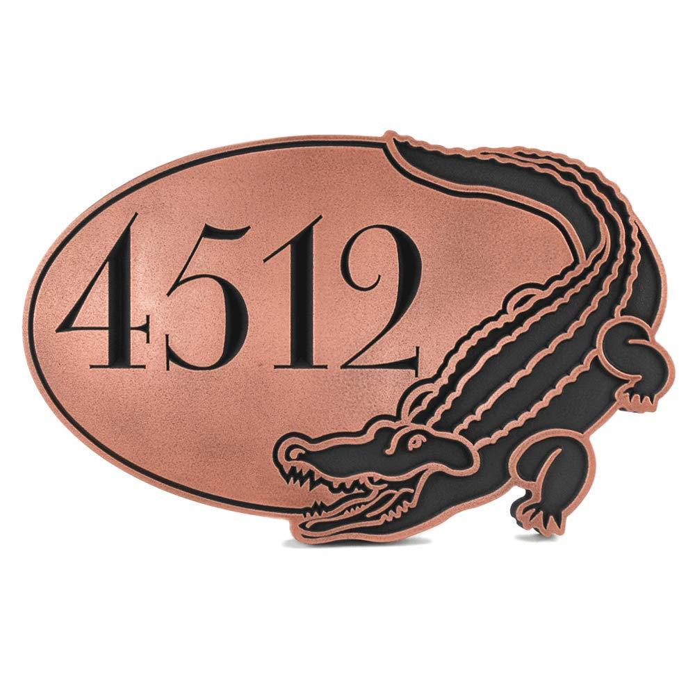 アドレスPlaque with Alligator 16 x 10.5 – 手作りby Atlas Signs and Plaques   Recessed銅コーティング B00J9KSYM8