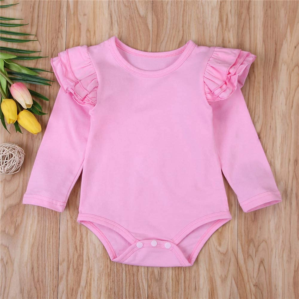 Theshy Newborn Infant Baby Boys Girls Solid Ruffle Long Sleeve Romper Bodyuit Clothes Infant Pajamas Outerwear Costume