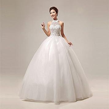 AN Vestido de novia princesa coreana dulce del cordón que cuelga la correa del lazo de