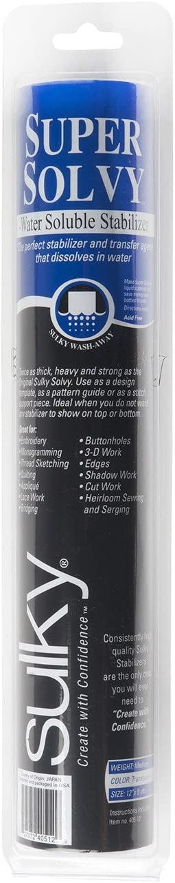 8 by 9 yd Sulky Of America Super Solvy Water Soluble Stabilizer